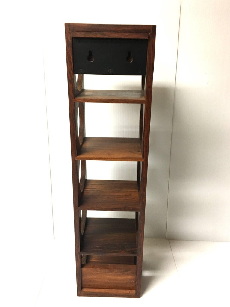 Danish Modern Five Bottle Solid Rosewood Wall-Mounted Wine Racks In Excellent Condition For Sale In San Diego, CA
