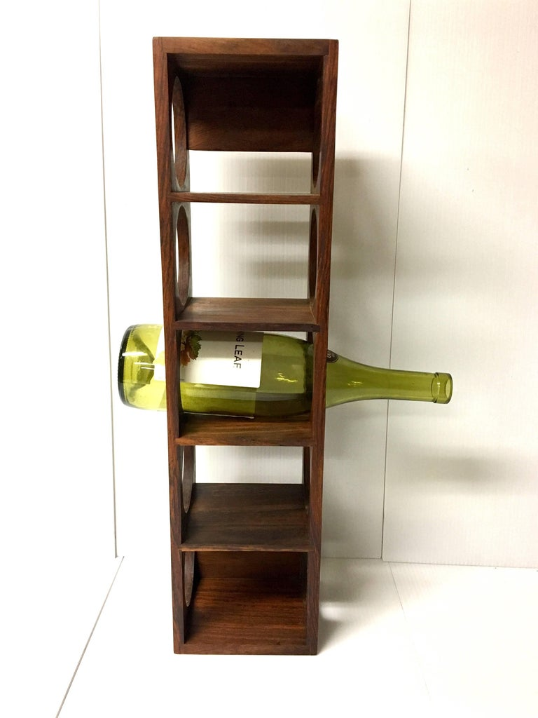 20th Century Danish Modern Five Bottle Solid Rosewood Wall-Mounted Wine Racks For Sale