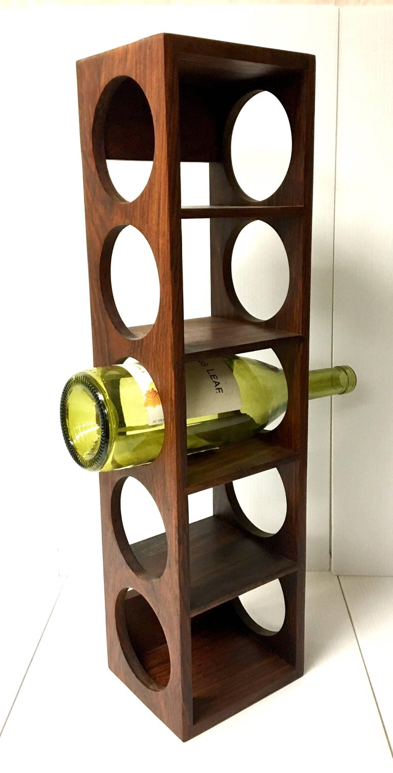 Danish Modern Five Bottle Solid Rosewood Wall-Mounted Wine Racks For Sale 1