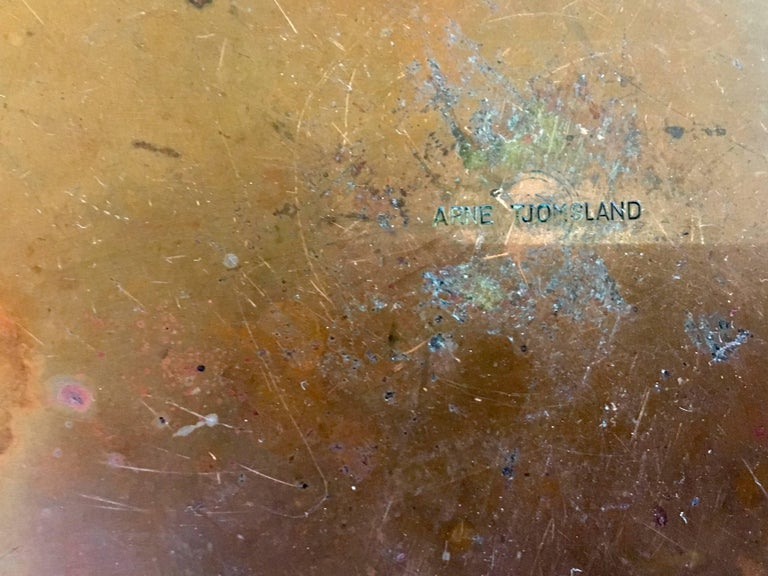 Norwegian Danish Modern Rare Enamel on Copper Low Bowl by Arne Tjomsland For Sale