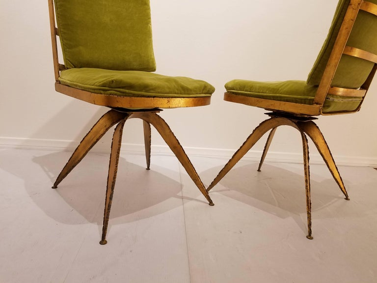 Rare dining chairs set of six in the style of Daniel Gluck, nice condition a great set of six original cushion in green velvet easy to replace, each chair swivel all the way solid and sturdy, a very unique great set.
