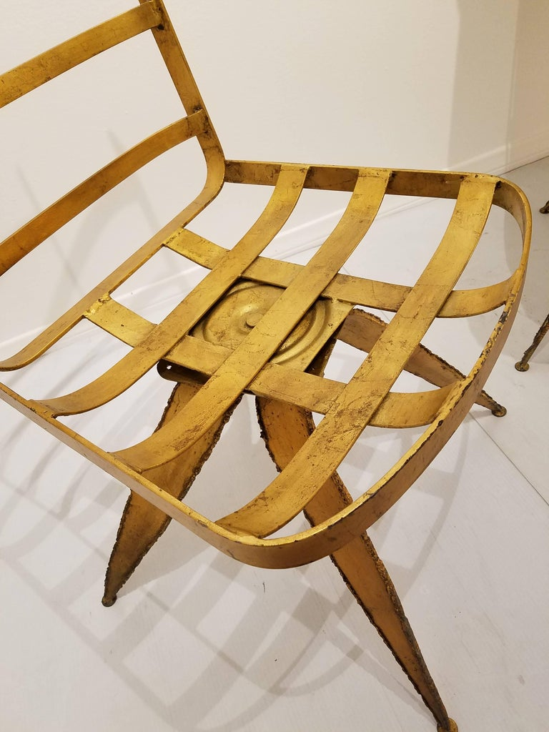 Brutalist Striking Brutal Dining Chairs Set of Six Torch Cut Steel in Gold Leaf Finish For Sale