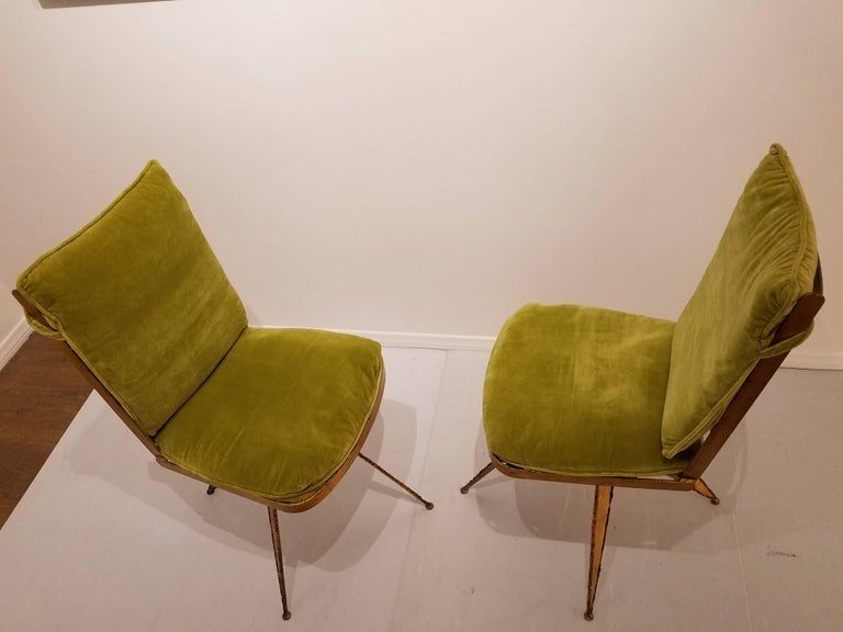 Striking Brutal Dining Chairs Set of Six Torch Cut Steel in Gold Leaf Finish For Sale 3