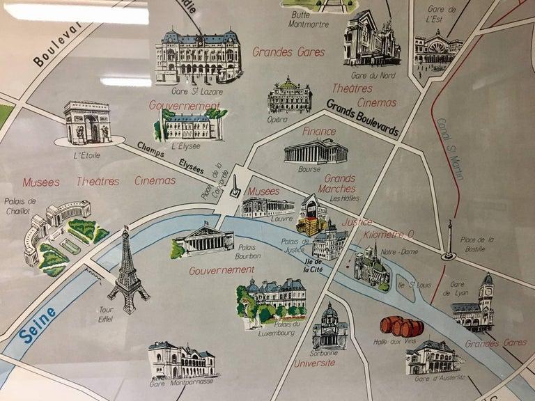 Vintage Paris Metro Area Map Print By Imprimerie Georges Lang Nicely - Paris metro map print