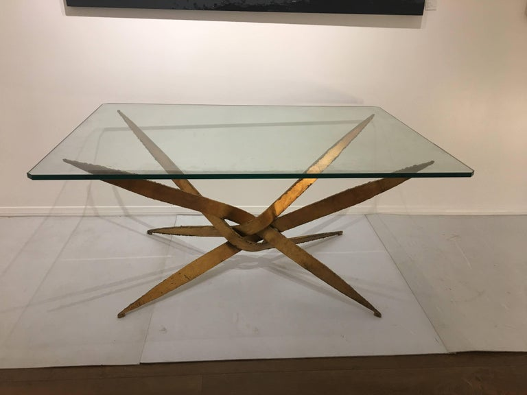 Striking Brutal Dining Table Torch Cut Steel in Gold Leaf Finish In Excellent Condition For Sale In San Diego, CA