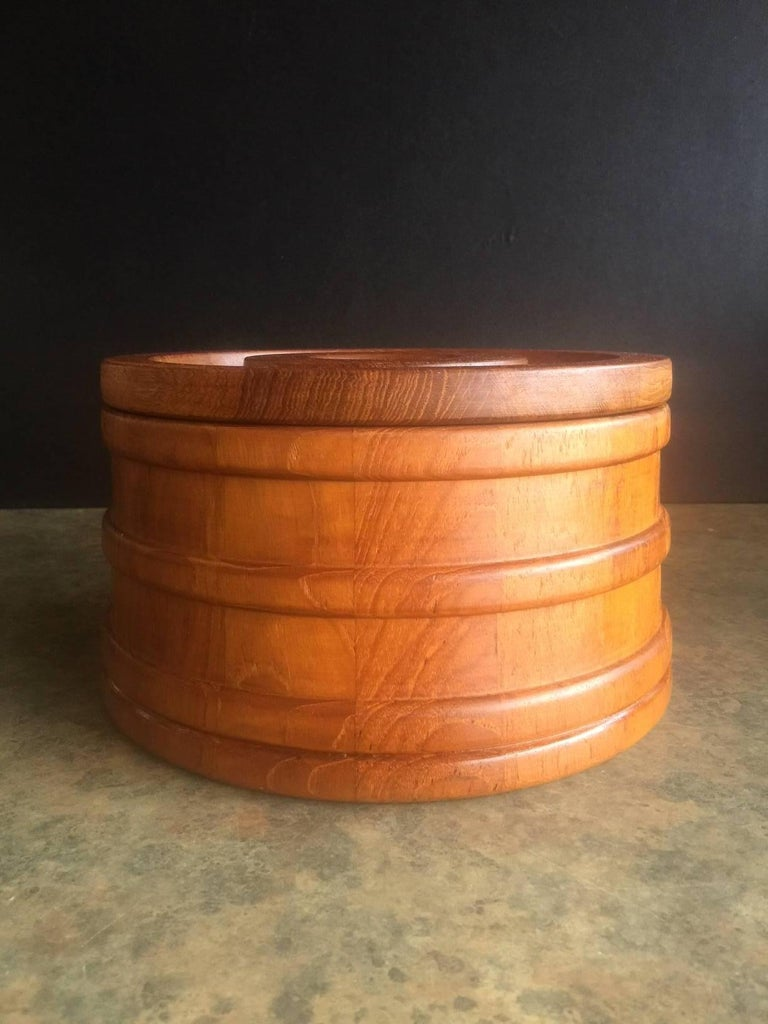 Mid-Century Modern Danish Staved Teak Banded Ice Bucket by Jens Quistgaard for Dansk IHQ For Sale