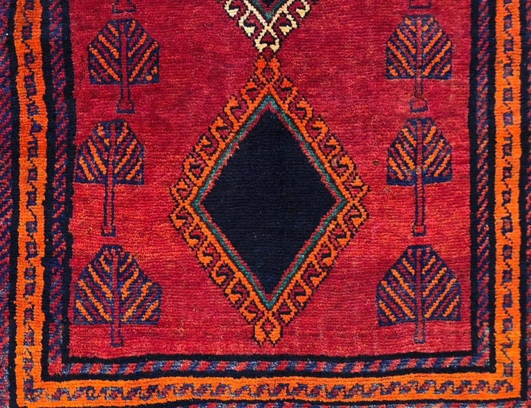 Late 20th Century Persian Hand-Knotted Tribal Red Shiraz Rug For Sale