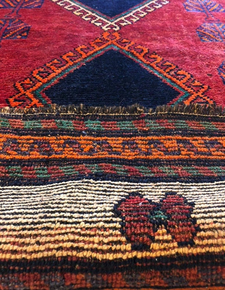 Persian Hand-Knotted Tribal Red Shiraz Rug 6