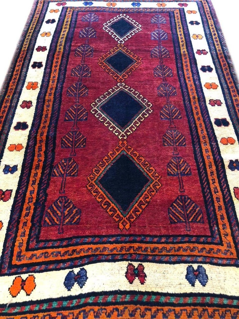 Wool Persian Hand-Knotted Tribal Red Shiraz Rug For Sale