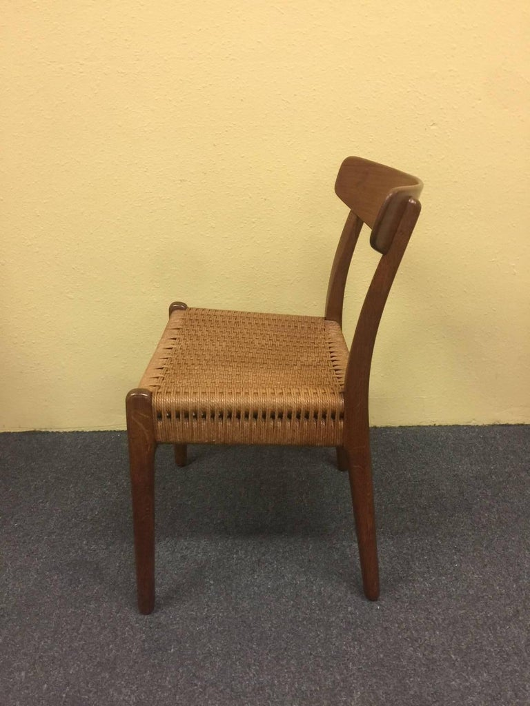 Set of Four Teak/Oak Dining Chairs with Rope Seats, Hans Wegner for Carl Hansen In Excellent Condition For Sale In San Diego, CA