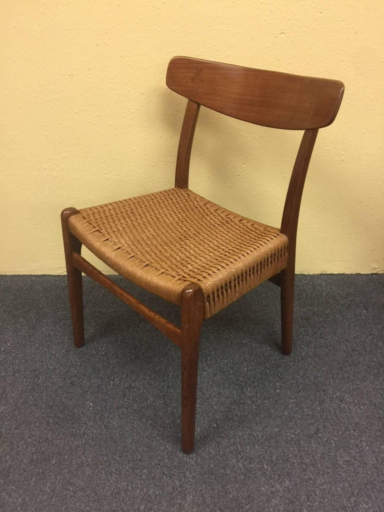 Set of Four Teak/Oak Dining Chairs with Rope Seats, Hans Wegner for Carl Hansen For Sale 3