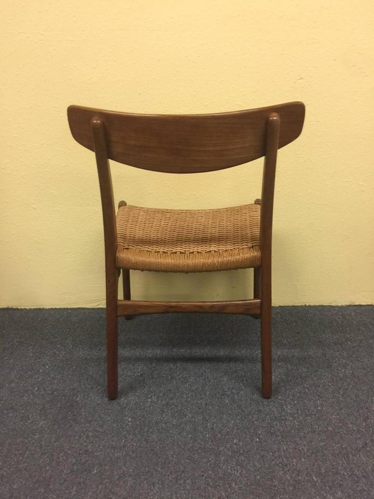 Danish Set of Four Teak/Oak Dining Chairs with Rope Seats, Hans Wegner for Carl Hansen For Sale