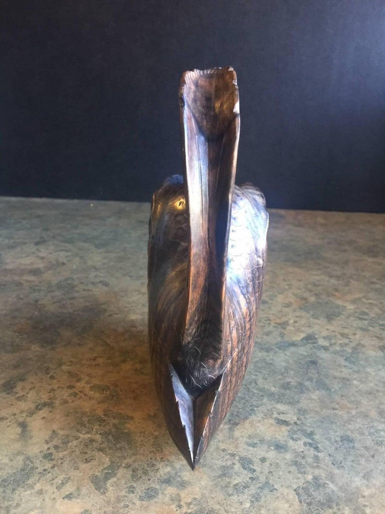 20th Century Mid-Century Hand Carved Zebra Wood  Owl Sculpture For Sale