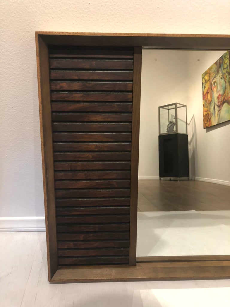 American Mid-Century Modern Walnut and Rosewood Mirror from Klassik In Excellent Condition For Sale In San Diego, CA