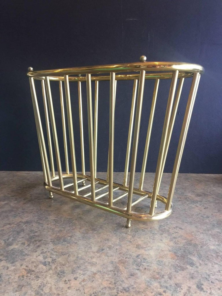 "Vintage Brass ""Spoke Style"" Magazine Rack For Sale 1"