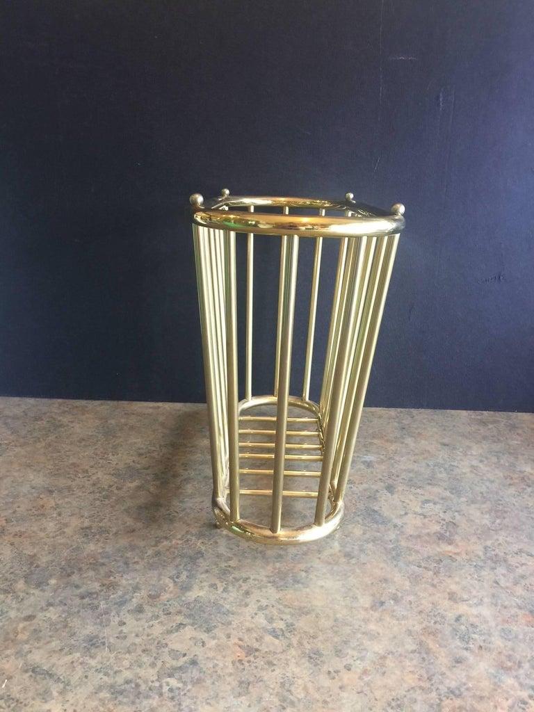 "Mid-Century Modern Vintage Brass ""Spoke Style"" Magazine Rack For Sale"
