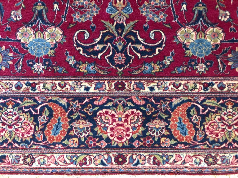 Hand-Knotted Persian Semi Antique Vintage Red Medallion Kashan Rug For Sale