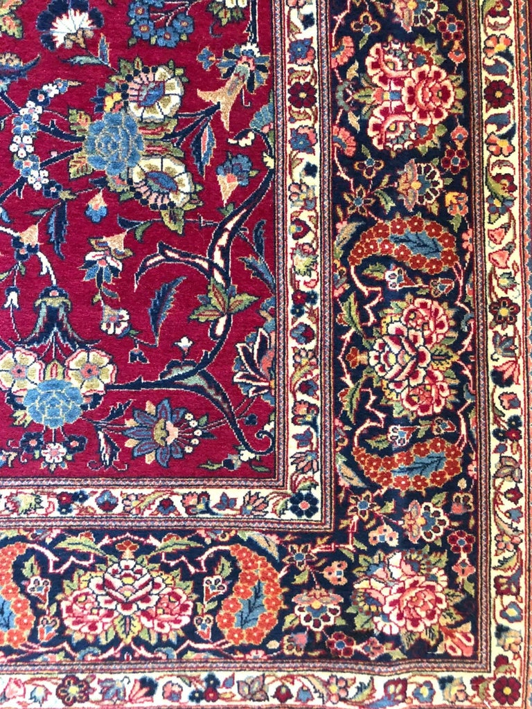 Persian Semi Antique Vintage Red Medallion Kashan Rug In Excellent Condition For Sale In San Diego, CA