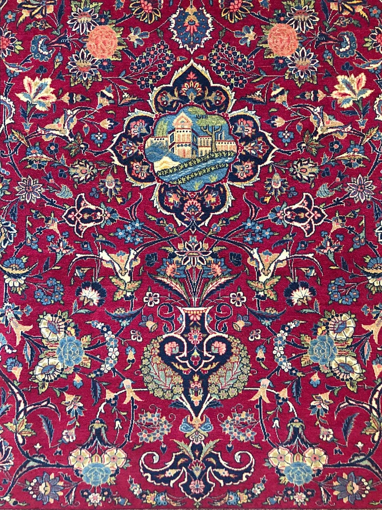 Mid-20th Century Persian Semi Antique Vintage Red Medallion Kashan Rug For Sale