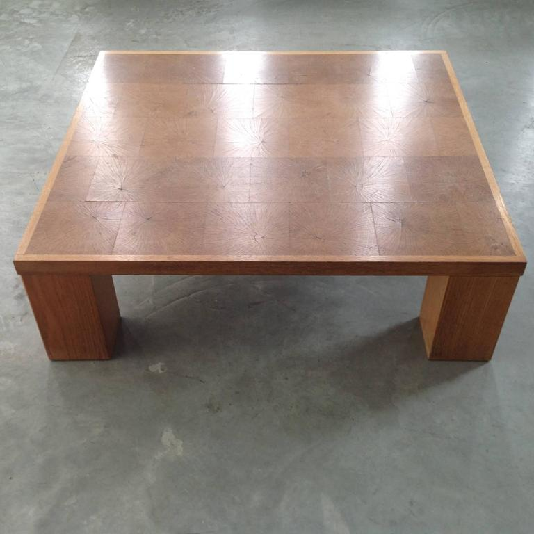 Elegant Coffee Table In Solid Oak Block Wood By Emiel Veranneman Anno 1969 For Sale At 1stdibs