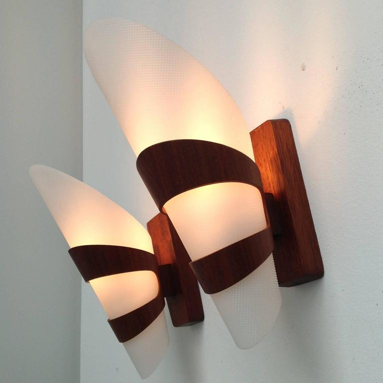 Wall Lights Made From Wood : Two Wall Lamps Complete Made of Teak Wood For Sale at 1stdibs