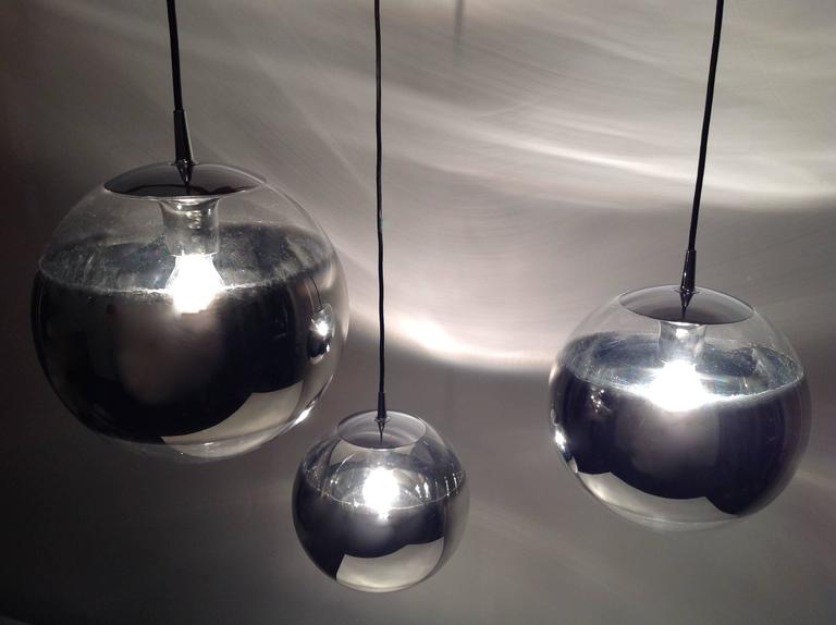 Three Amazing Glass Globes with Integrated Mirror, Anno, 1960 6