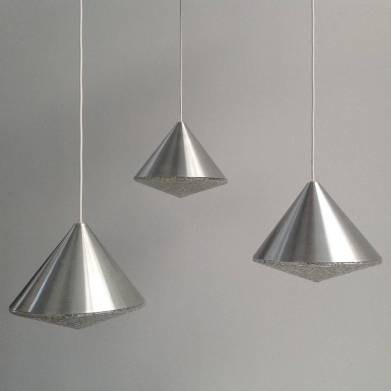 Three Beautiful Glass Chandeliers Cone Shape, Anno, 1970 2