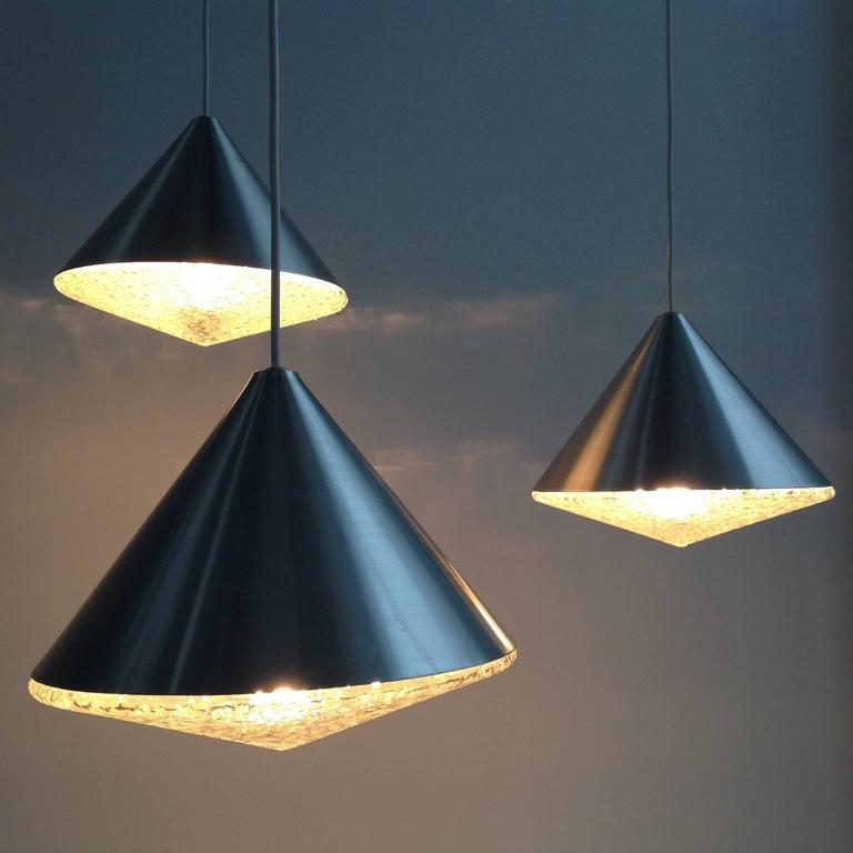 Three Beautiful Glass Chandeliers Cone Shape, Anno, 1970 3