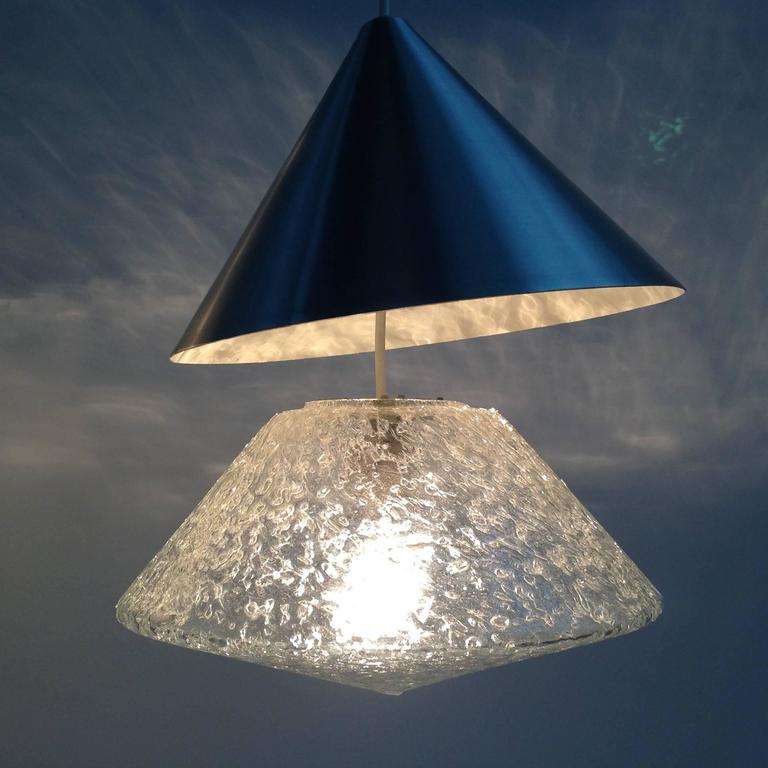 Three Beautiful Glass Chandeliers Cone Shape, Anno, 1970 10