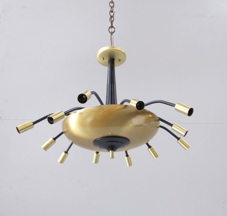 Old Ceiling Light Fixture Parts: Black And Brass Vintage Parts Ceiling Mount At 1stdibs
