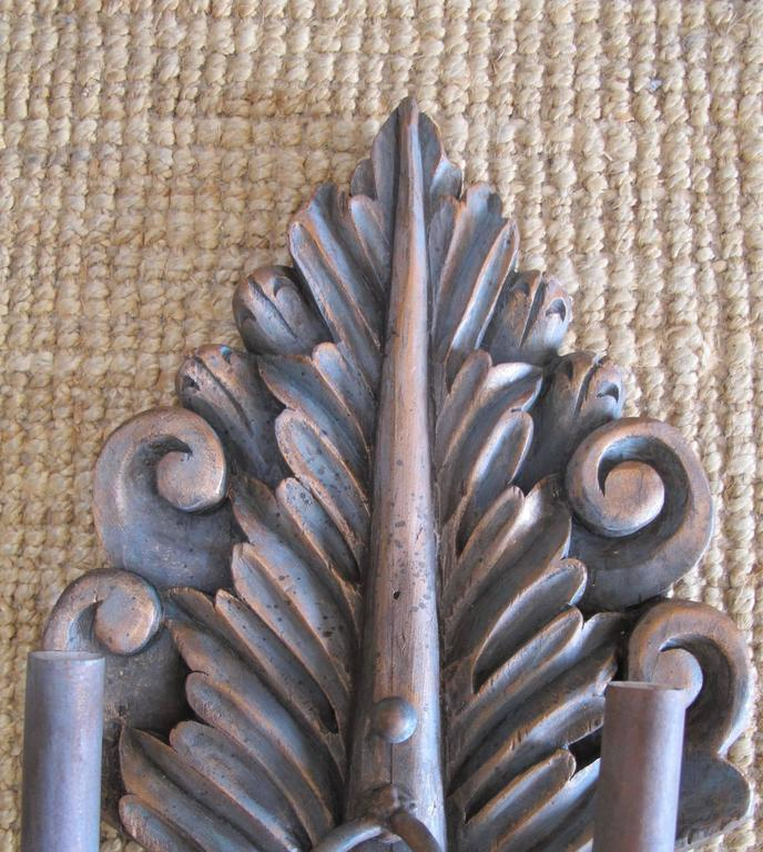 Pair of Hand-Carved Sconces In Excellent Condition For Sale In Encinitas, CA