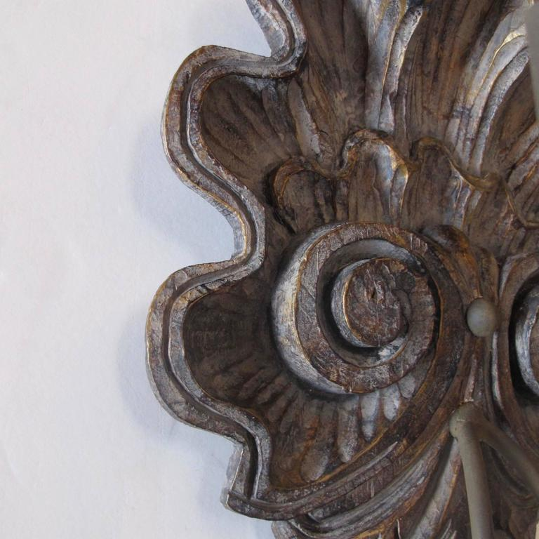 Pair of Hand-Carved Shell Sconces In Excellent Condition For Sale In Encinitas, CA