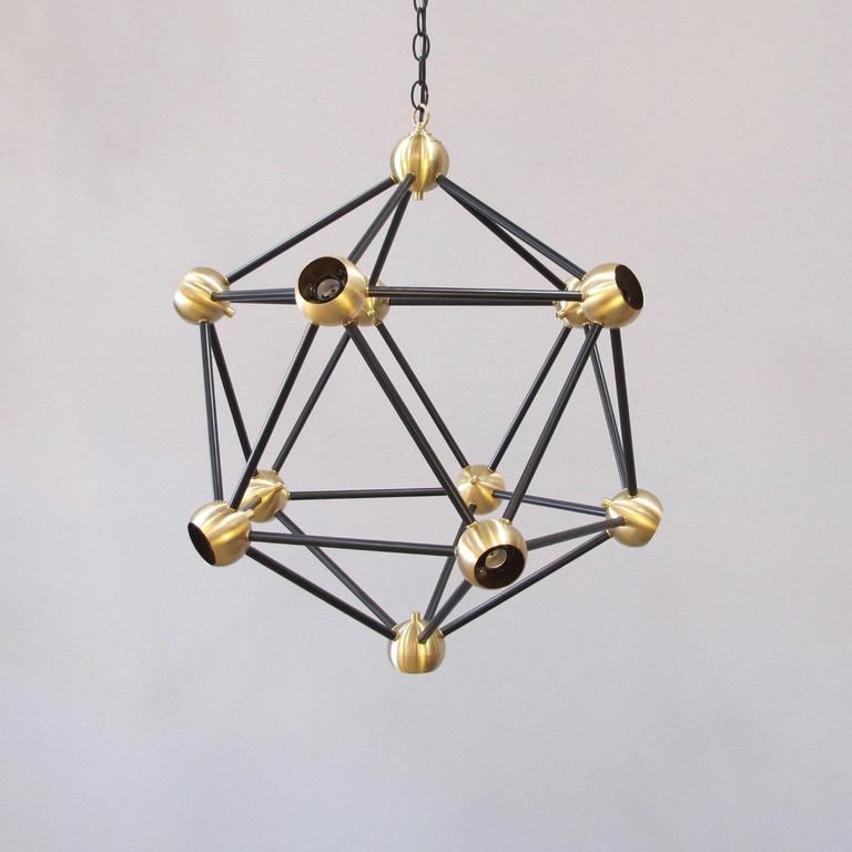 ON SALE!  Black and Brass Pendant Light In Excellent Condition For Sale In Encinitas, CA
