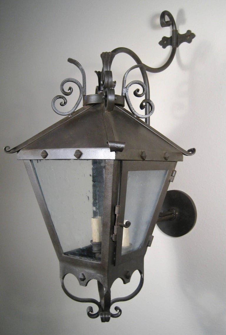 American Decorative Iron Exterior Wall Lantern For Sale