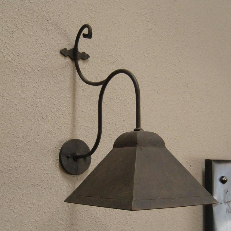 Iron Outdoor Wall Sconces : Iron Exterior Hooded Wall Sconce at 1stdibs