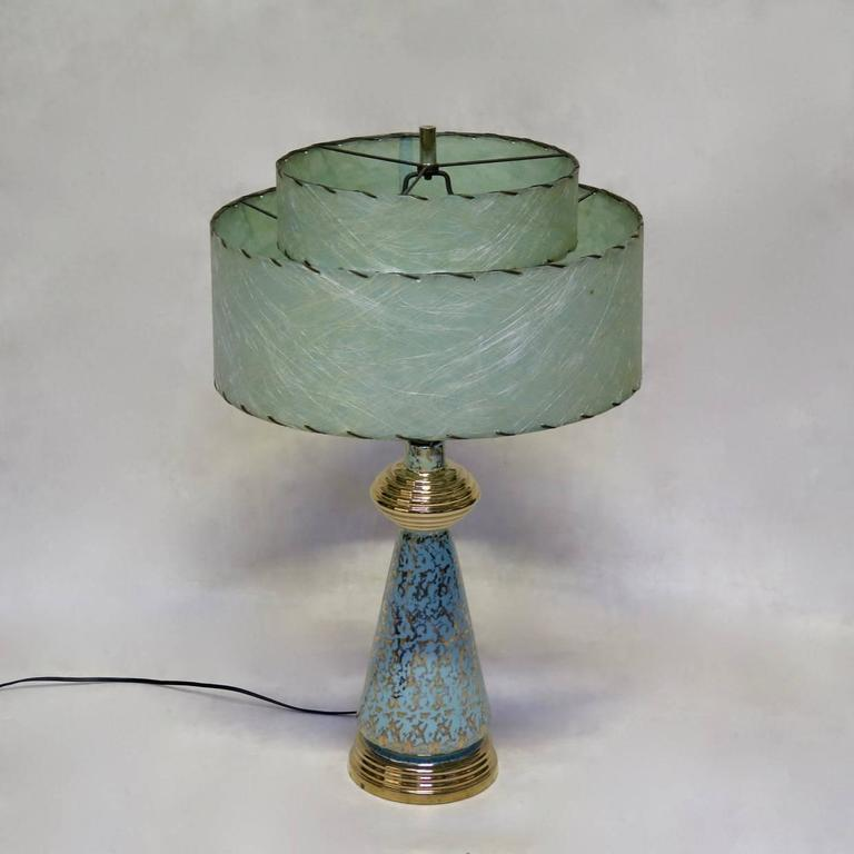 Pair Of Gold Speckled Porcelain Lamps With Paper Shades
