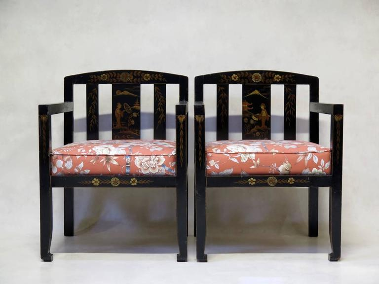 Chinese art deco style living room set for sale at 1stdibs for Art deco living room chairs
