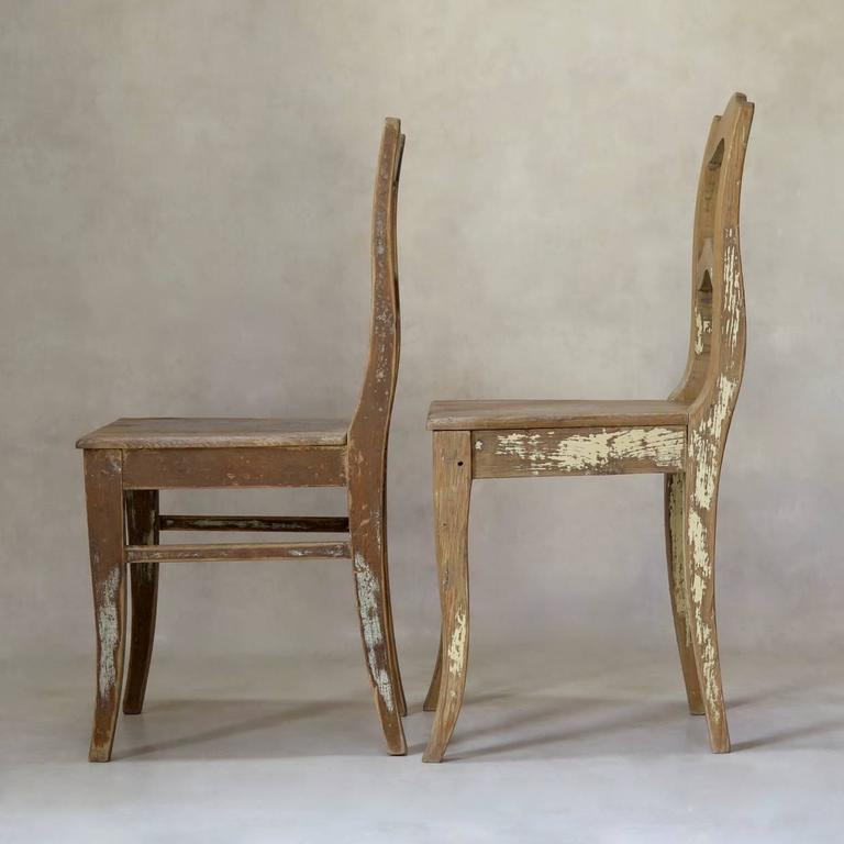 French Faux-Pair of Rustic Pine Chairs, France, 19th Century For Sale