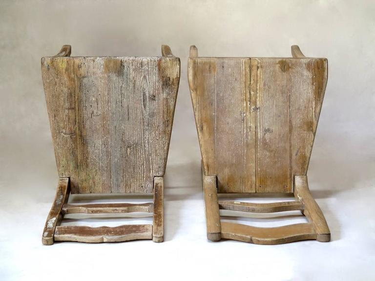 Faux-Pair of Rustic Pine Chairs, France, 19th Century For Sale 5
