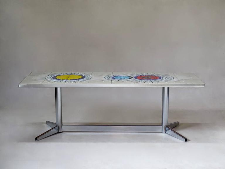 French 1960s Tile-Top Coffee Table by Juliette Belarti 2