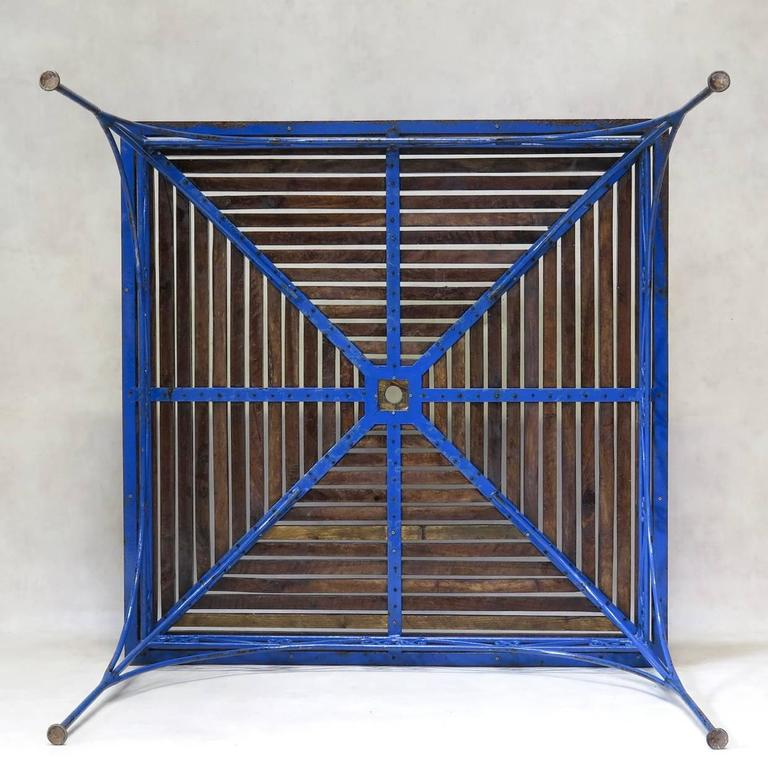 Lovely French 1930s Wrought Iron and Wood Garden Table with Four Armchairs For Sale 2