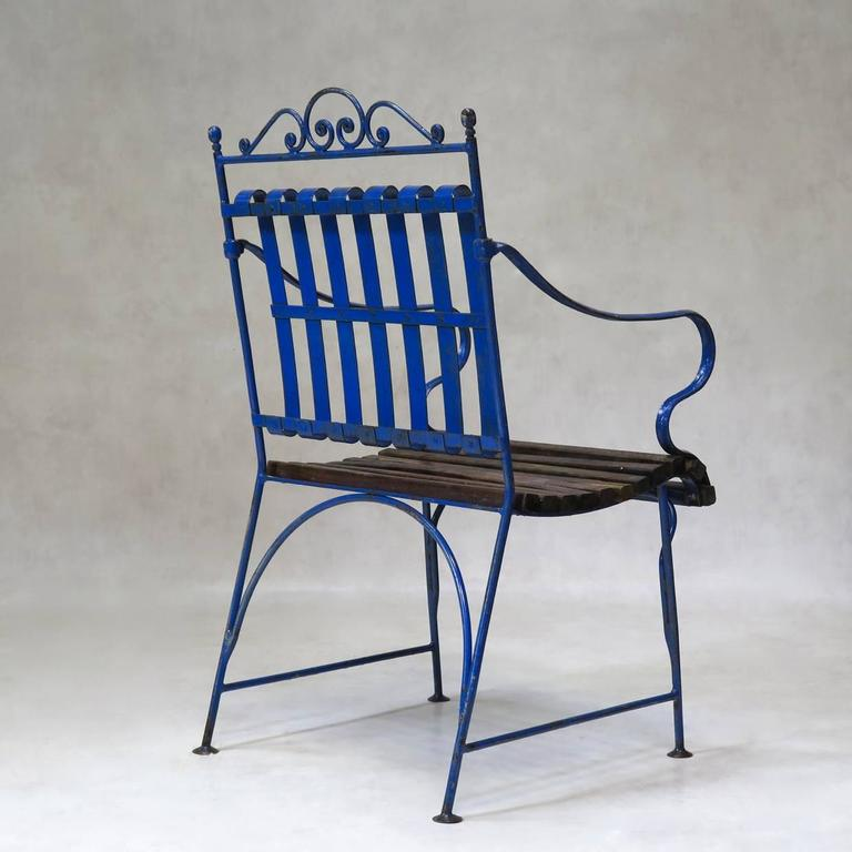 Lovely French 1930s Wrought Iron and Wood Garden Table with Four Armchairs For Sale 4