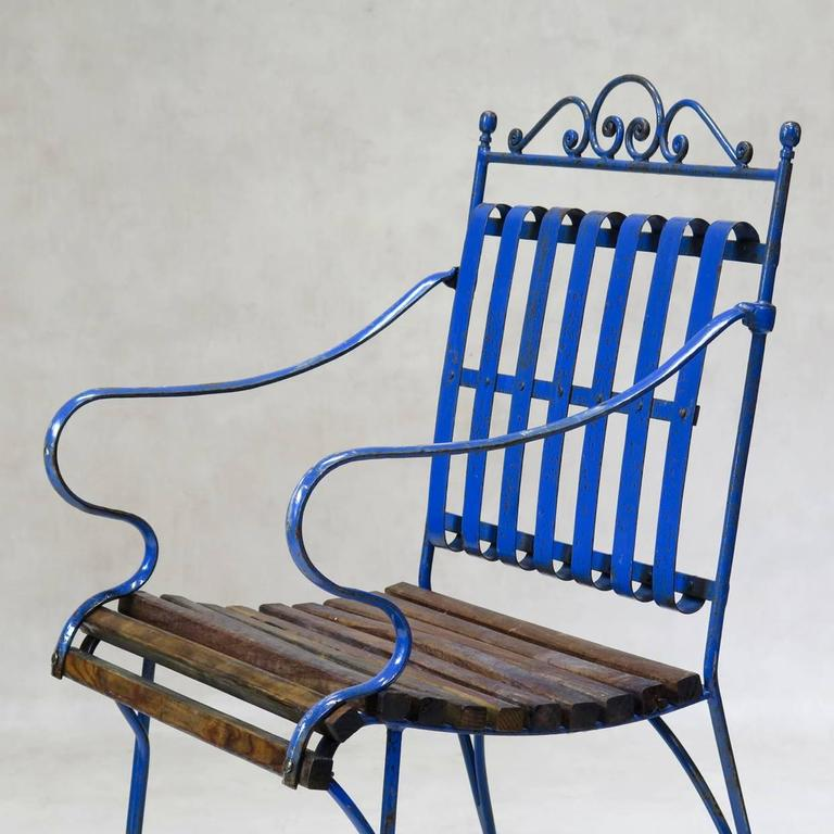 Lovely French 1930s Wrought Iron and Wood Garden Table with Four Armchairs For Sale 5