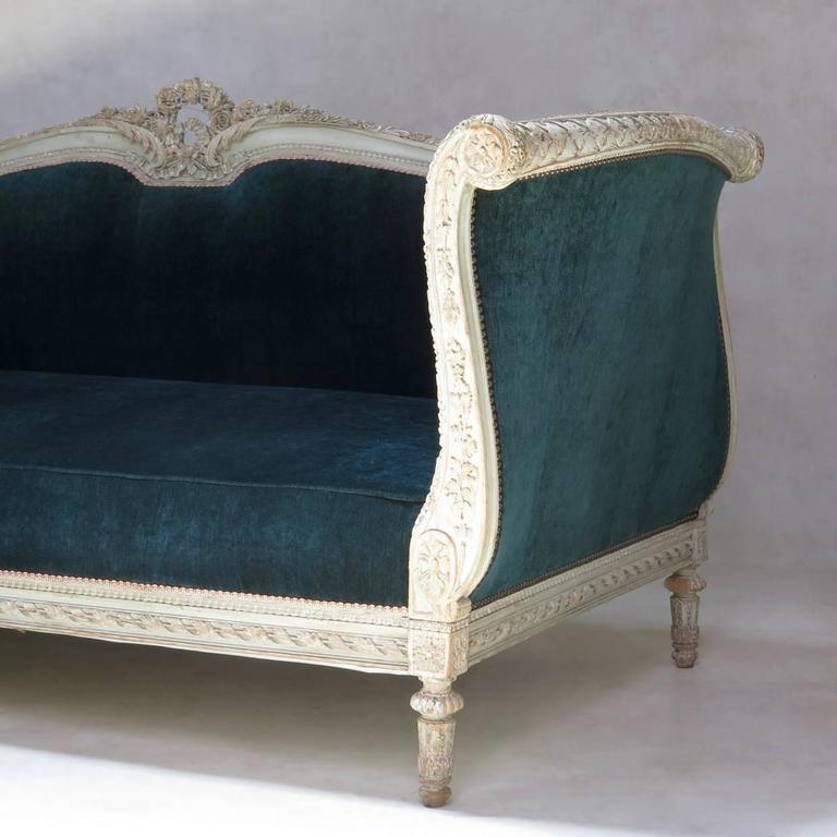 Louis XVI Style Teal Velvet Upholstered Settee, France, 19th Century For Sale 3