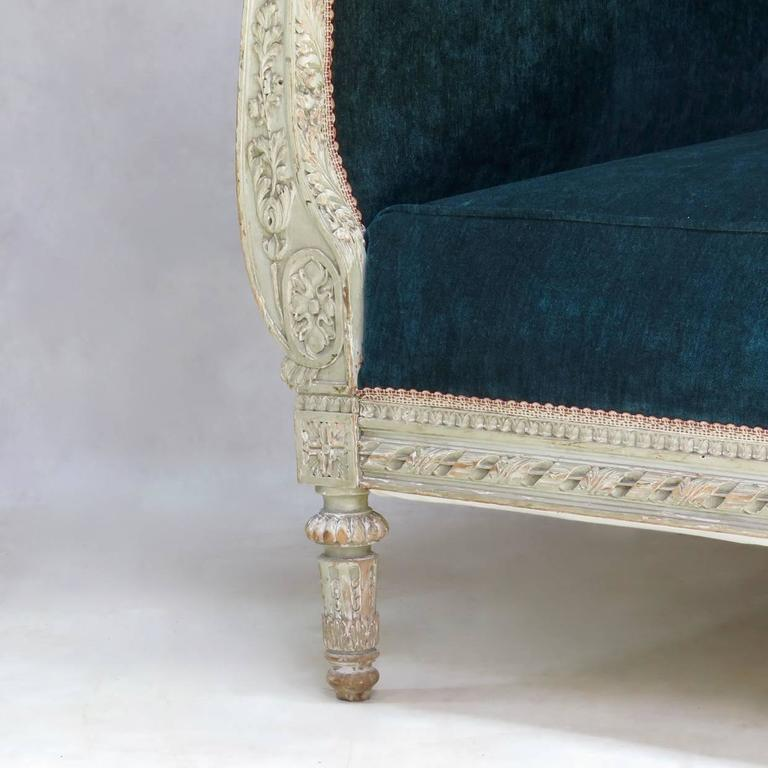 Louis XVI Style Teal Velvet Upholstered Settee, France, 19th Century For Sale 1