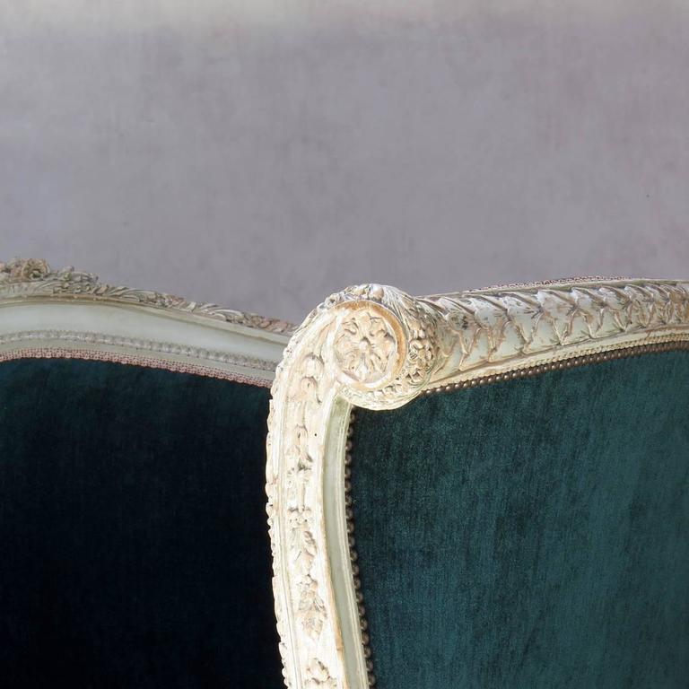 Louis XVI Style Teal Velvet Upholstered Settee, France, 19th Century For Sale 4