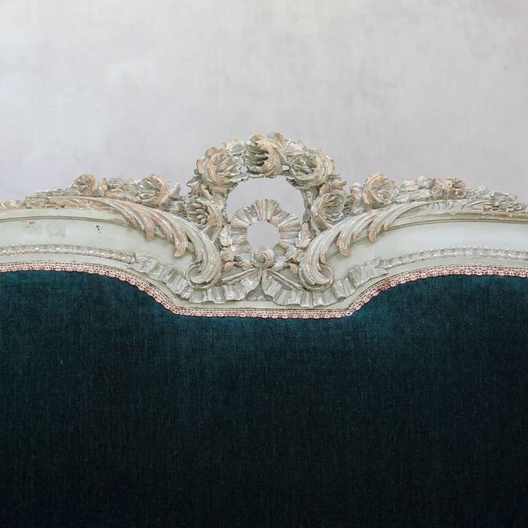 Louis XVI Style Teal Velvet Upholstered Settee, France, 19th Century For Sale 2