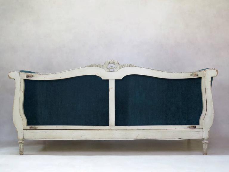 Louis XVI Style Teal Velvet Upholstered Settee, France, 19th Century For Sale 6