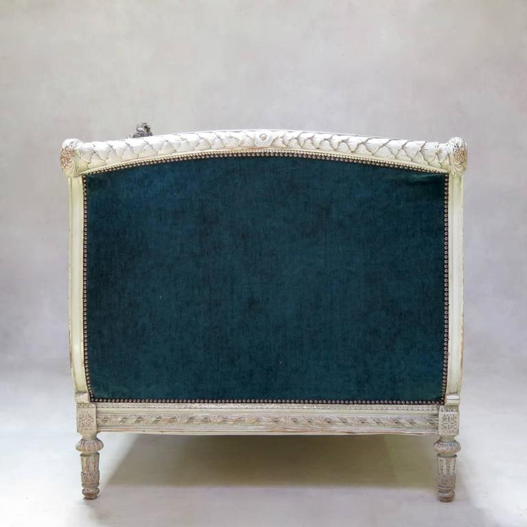 Louis XVI Style Teal Velvet Upholstered Settee, France, 19th Century For Sale 5
