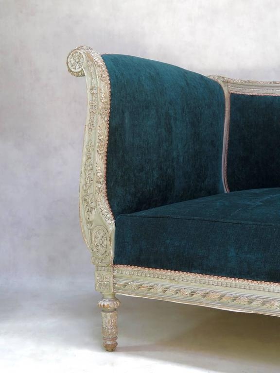 French Louis XVI Style Teal Velvet Upholstered Settee, France, 19th Century For Sale
